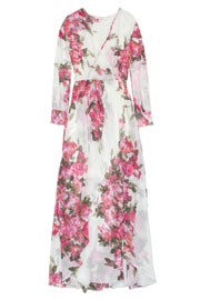 Long Sleeve Floral Chiffon Maxi Dress-Off White & Pink