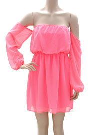 Chiffon Peasant Elastic Off the Shoulder Mini Dress-Hot Pink