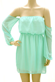 Chiffon Peasant Elastic Off the Shoulder Mini Dress-Mint
