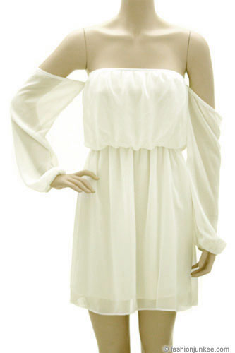 Chiffon Peasant Elastic Off the Shoulder Mini Dress-Off White