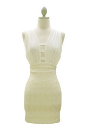 Chiffon Low Cut Plunging Neckline Backless Mini Dress-Off White & Gold