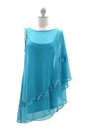 Chiffon Kimono Mini Wing Dress with Sequin Accent-Aqua Blue