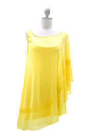 Chiffon Kimono Mini Wing Dress with Sequin Accent-Yellow