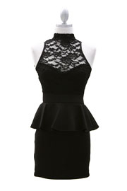 Peplum Lace Sweetheart Choker Mini Dress, Open Back-Black