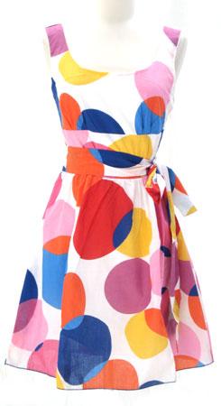 Cotton Gauze Short Sleeve Polka Dot Dress, Sash Belt-Red/Purple