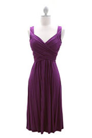 :As Seen In US WEEKLY: Crossover Fauxe Wrap Vintage Inspired Jersey Dress-Dusty Purple