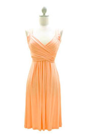 :As Seen In US WEEKLY: Crossover Fauxe Wrap Vintage Inspired Jersey Dress-Peach