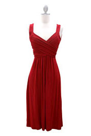 :As Seen In US WEEKLY: Crossover Fauxe Wrap Vintage Inspired Jersey Dress-Red
