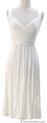 :As Seen In US WEEKLY: Crossover Fauxe Wrap Vintage Inspired Jersey Dress-Off White / Ivory