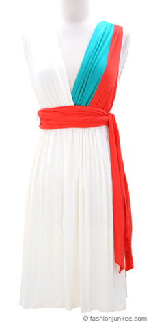 Color Block Deep V Neck Jersey Dress with Sash Tie Belt-White, Coral & Blue Green