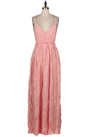Backless Open Back Crochet Maxi Full Length Bridesmaid Dress-Coral Pink
