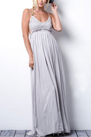 Backless Open Back Crochet Maxi Full Length Dress-Grey