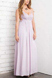 Backless Open Back Crochet Maxi Full Length Bridesmaid Dress-Lavender Purple