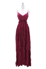 Backless Open Back Crochet Maxi Full Length Dress-Magenta