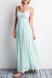 Backless Open Back Crochet Maxi Full Length Dress-Mint