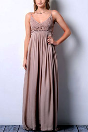 Backless Open Back Crochet Maxi Full Length Bridesmaid Dress--Mocha Taupe