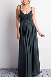 Backless Open Back Crochet Maxi Full Length Bridesmaid Dress-Navy Blue