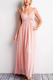Backless Open Back Crochet Maxi Full Length Dress-Pink