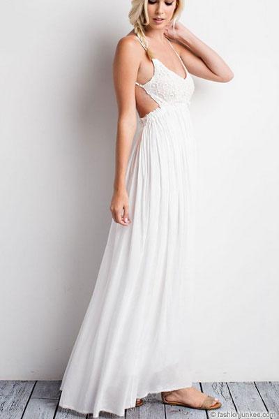 Backless Open Back Crochet Maxi Full Length Wedding Dress-White