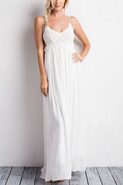 Backless Open Back Crochet Maxi Full Length Wedding Dress-White