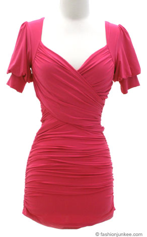 Cross-Over Sweetheart Neckline Short Sleeve Mini Dress-Fuschia :  pink minidress gathered long