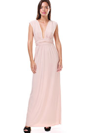 Low Cut Deep Plunging Neckline Long Full Length Dress-Nude