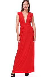 Low Cut Deep Plunging Neckline Long Full Length Dress-Red