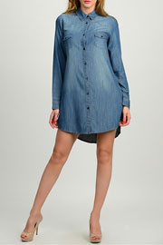 Loose Chambray Denim Button Up Shirt Dress with Pockets-Blue