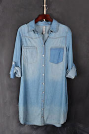 :As Seen In REDBOOK Magazine: Loose Chambray Denim Button Up Shirt Dress with Roll Up Sleeves-Blue