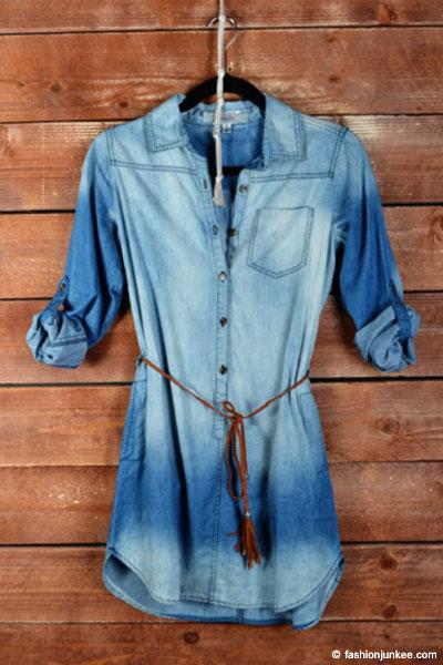 Plus Size Belted Chambray Denim Button Up Shirt Dress-Dark Wash Blue