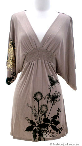 Jersey V-Neck Kimono Dress / Tunic Top with Floral Print-Mocha