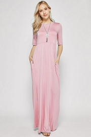 Solid Jersey Elbow Length Sleeve Long Maxi Dress with Pockets-Pink