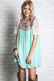 Boho Embroidered Baby Doll Tunic Shirt Dress with Lace Sleeves-Mint