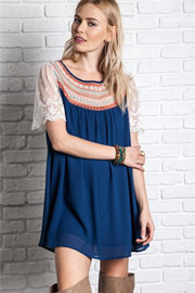 Boho Embroidered Baby Doll Tunic Shirt Dress with Lace Sleeves-Navy Blue