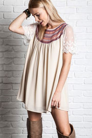 Boho Embroidered Baby Doll Tunic Shirt Dress with Lace Sleeves-Off White