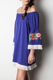 :As Seen In PEOPLE STYLEWATCH Magazine: Off the Shoulder Floral Embroidered Fringe Bell Sleeve Dress-Blue