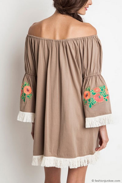 Plus Size Off The Shoulder Floral Embroidered Fringe Bell Sleeve