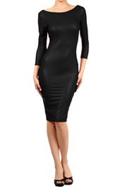 Faux Leather Backless Knee Length 3/4 Sleeve Dress-Black