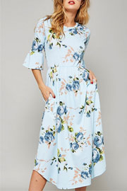 Pretty Bell Sleeve Floral Print Mid Length Dress-Light Blue