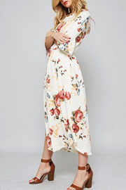 Pretty Bell Sleeve Floral Print Mid Length Dress-Off White