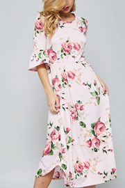 Pretty Bell Sleeve Floral Print Mid Length Dress-Pink