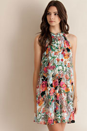 Floral Print Choker Sleeveless Swing Dress-Pink