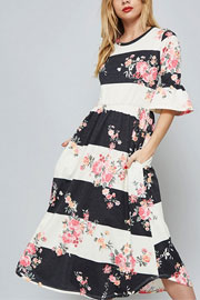 Bold Floral Print Colorblock Stripes Bell Sleeve Mid Length Dress-Dark Grey & Off White