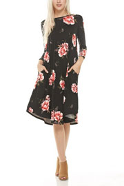 Floral Loose 3/4 Sleeve Flared Midi Dress with Pockets-Black & Burgundy