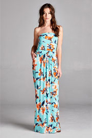 Jersey Strapless Tube Floral Maxi Dress with Pockets-Mint