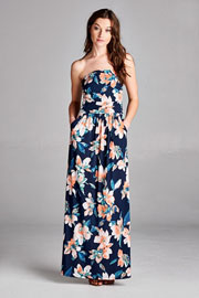 Jersey Strapless Tube Floral Maxi Dress with Pockets-Navy Blue