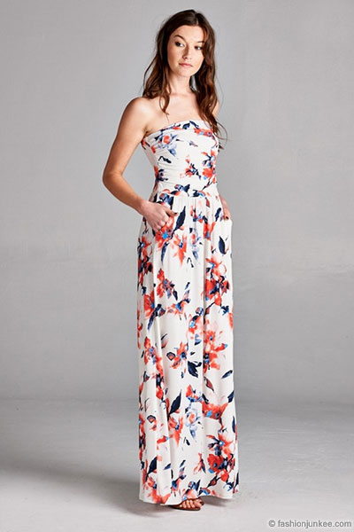 Jersey Strapless Tube Floral Maxi Dress with Pockets-White