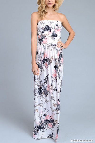 Strapless Tube Floral Maxi Dress With Pockets White Black