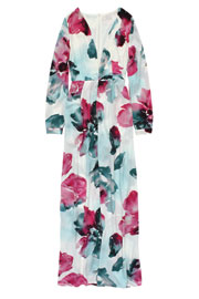 Gorgeous Low Cut V-Neck Floral Maxi Dress-Off White