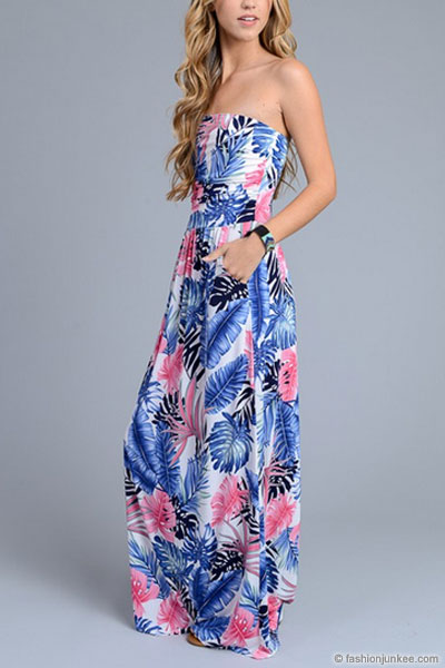Tropical Strapless Tube Floral Maxi Dress With Pockets